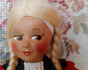 "vintage European souvenir 8 1/2"" doll with stand"