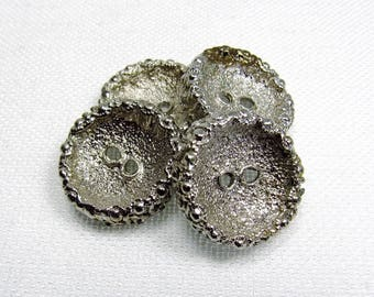 "Heavy, Sturdy: 7/8"" (22mm) Bright Silver Buttons - Set of 4 Vintage New Old Stock Matching Buttons"