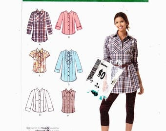 Simplicity 2447 Szs 6-14 Misses Shirt In Two Lengths With Front, Collar And Sleeve Variations UNCUT Easy  To Sew