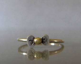 Bow Ring, Stacking ring bow, Bow knuckle ring, Silver and gold ring made to order