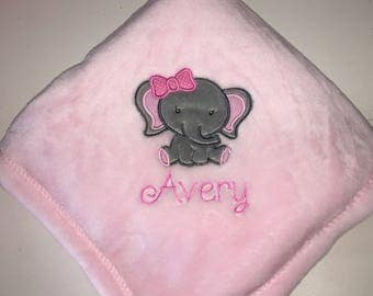 Personalized Embroidered Cute Elephant Girl  Baby Blanket