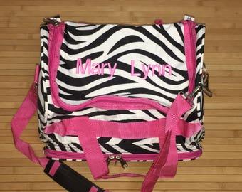 "Personalized Monogram 13"" Zebra Duffle Bag Pink Trim Gym Carry On"