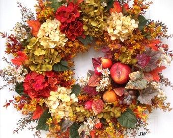 Fall Wreath, Hydrangea Wreath, Fruit Wreath, Tuscan Wreath, Sage Green, Cinnamon Red, Parchment Beige, Apples Pears, Thanksgiving Wreath
