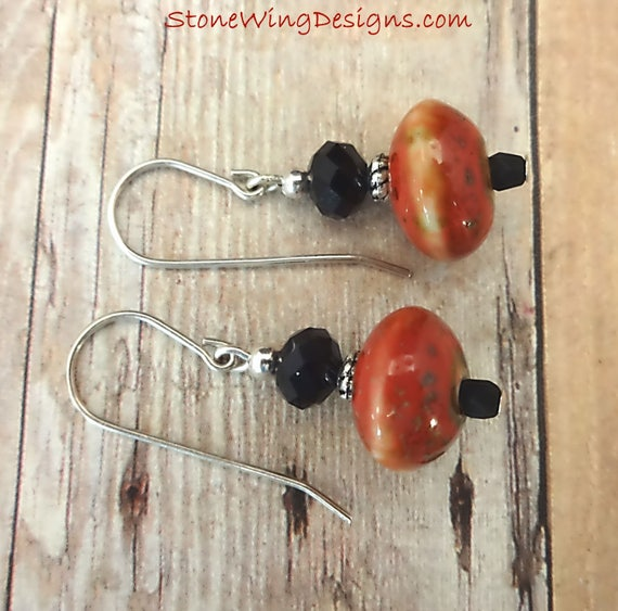 Boho Red Ceramic and Black Glass Earrings