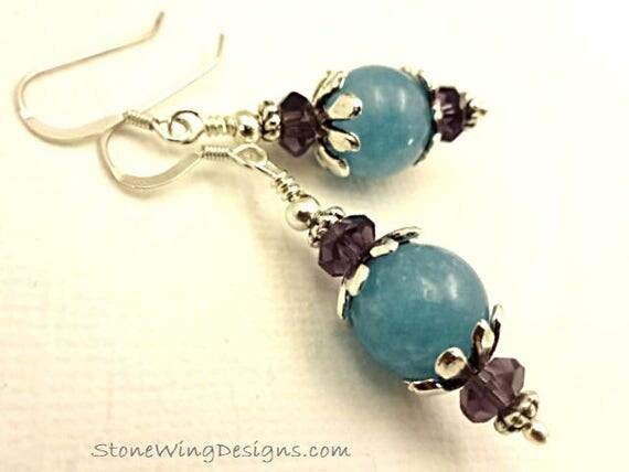 Aqua Blue Angelite and Amethyst Earrings