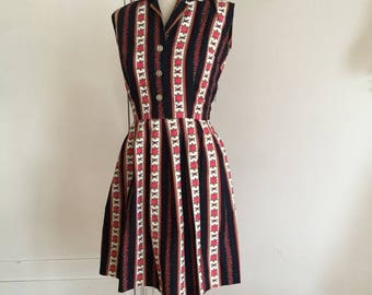 ON SALE Vintage 50s shirt dress rose print S M