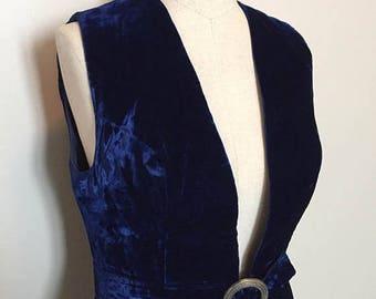 ON SALE Vintage 60s Blue Velvet Dress