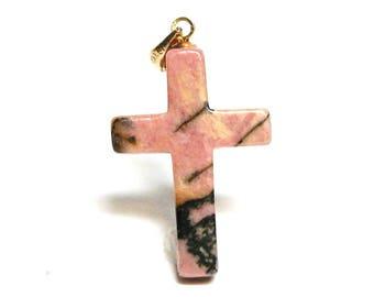 "Rhodonite, rhodonite cross, cabochon cross, religious, pink black, christian jewelry, faithful cross, ""Faithful Cross"""