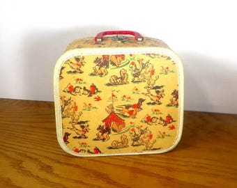 Mid Century Childs Suitcase Dog Print 1950s Childrens Overnight Case Doll Clothing Accessories Case