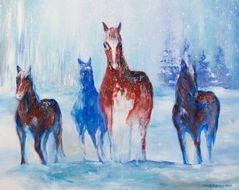 "Winter Horses - 10 x 13"" print"