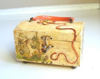vtg 70s wood DECOUPAGE Holly Hobby BOX PURSE bag handbag kitschy retro