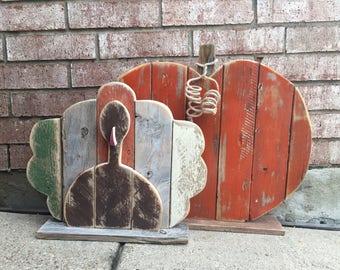 Wood Pumpkin - Wood Turkey - Porch Sitter - Front Door Decor - Thanksgiving Decor