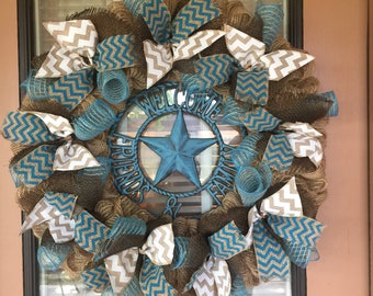 Turquoise Burlap Wreath Welcome Family and Friends