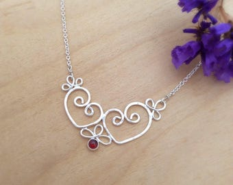 Silver Heart Necklace with Garnet, Sterling Hearts, Romantic Filigree Jewelry