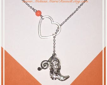FUNDRAISER FOR VICTIMS of Route 91, Las Vegas, Lariat Necklace with Rhinestone Cowboy Boot, Music Note & Heart, handmade jewelry, country