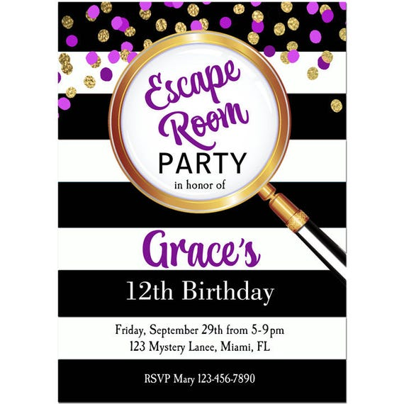 Girl 39 s escape room party invitation printable or printed for Escape room party
