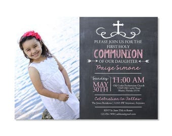Chalkboard First Communion Invitation with photo