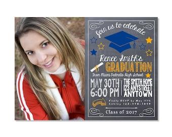 Chalkboard Graduation Invitation with photo