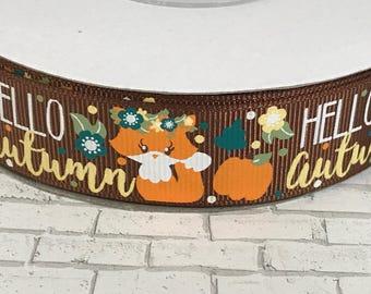 Autumn ribbon, fox ribbon, grosgrain ribbon, Thanksgiving ribbon, US Designer ribbon