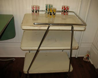 Vintage Retro Cosco 3 Tier Rolling Cart Bar Cart Serving Tray Utility Removable Tray