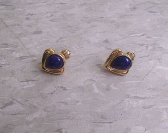 vintage clip on earrings goldtone bright blue lucite
