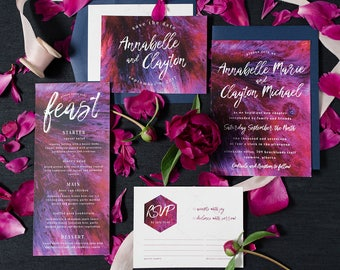 Bold Purple and Pink Wedding Invite Suite Paint Brush Texture