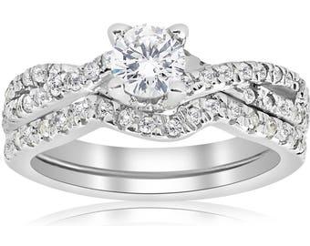 Diamond Wedding Ring Anniversary Infinity Diamond Engagement Wedding Ring Set 14K White Gold