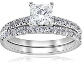 Princess Cut Diamond Engagement Ring Set E VS 1 3/8ct GIA Certified Princess Cut Halo Vintage Diamond Engagement Ring 14k