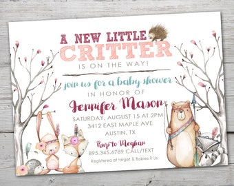 Woodland Baby Shower, Woodland Baby Shower Invitation,  PRINTABLE, Woodland Invitation, Woodland Critters, Forest Baby Shower