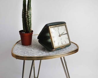 1950s French clock, travel alarm clock. Shabby chic, green leather case with gold tone metal accents. Jazz alarm clock, retro travel clock