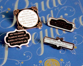 4 Pack Pins Set Jane Austen Pride and Prejudice White Black Rose Gold hard enamel, book lover, literary gifts