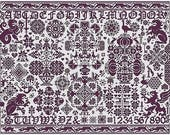 St. Reatham counted cross stitch pattern by Long Dog Samplers at thecottageneedle.com monochromatic Celtic Scandinavian