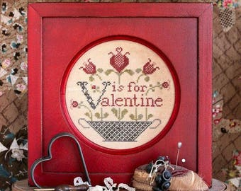 HEARTSTRING SAMPLERY V is for Valentine Alphabet Series #7 counted cross stitch patterns at thecottageneedle.com