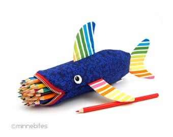 Rainbow Shark Bag - Handmade Shark Pencil Case - Rainbow Fish - Gift for Boys - School Bag - Ocean Party - Travel Kit Pouch - Ready to Ship