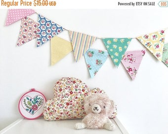 ON SALE Petite Shabby Chic Fabric Bunting, Banner, Garlands (set of 2)