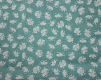 Light Blue background with White Baby Shoe Design Cotton Fabric by Riley Blake Designs. Dresses, Aprons, Quilts, Headbands Totes