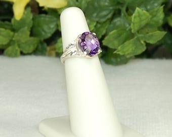 Amethyst Ring, Size 5, Checkerboard Cut, Purple Amethyst, Natural Amethyst, Sterling Silver, February Birthstone, Oval Amethyst