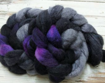 Deep Space 4 oz BFL Blue Faced Leicester Wool Spinning Fiber Combed Top Roving Purple Black Gray