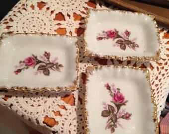 1950's Moss Rose Design Porcelain Trinket Dishes