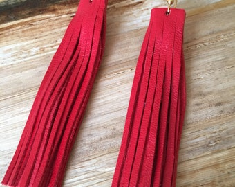 Must Have Red Genuine Leather Fringe Earrings