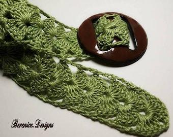 Green Crochet Belt with Buckle
