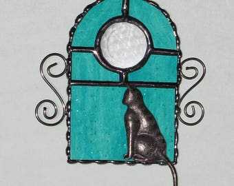 Stained Glass Suncatcher - Cat Sitting in a Window, Kitty Cat, Faceted Glass Jewel