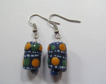 Blue, Green and Yellow Spotted Earrings
