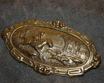 Brooch by Jan Michaels of San Francisco Vintage Style Fox Hunting Scene Horse and Rider with Dogs Stamped Copper Victorian Style Brooch