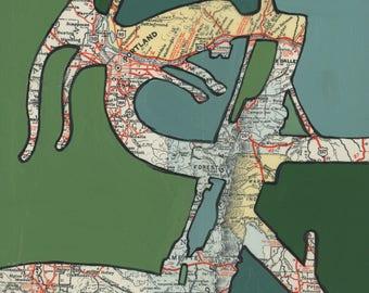 Portland  no.2- large print -  20x20 & 24x24 -bicycle map Portland, Vancouver, Oswego, Troutdale, Oregon bike art, map art