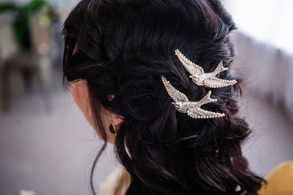 Sparrow Hair Pin, Bird Hair Pin, Sparrow Hair Clip, Sterling Silver Hair Clip, Silver Hair Clip, Nature Hair Clip Bridal Hair SPARROW