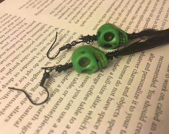 Sugar Skull Green Feather Earrings Final Sale