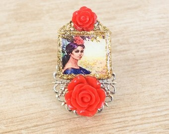 Mexican Flower Pin-Up Ring, Mexican Flower Resin Jewelry, Resin Photo Statement Ring