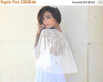 Bridal lace cape, bride shawl with lace, lace shrug chic Capelet wedding cover