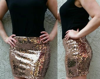 Rose Sequin Skirt - Mini skirt, full sequins (S, M, L, XL) Super beautiful in person, ships asap!